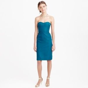 J Crew Rory Strapless Dress In Classic Faille Teal
